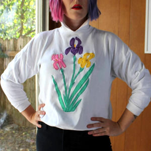 Vintage Colorful Spring Daffodil Sweater